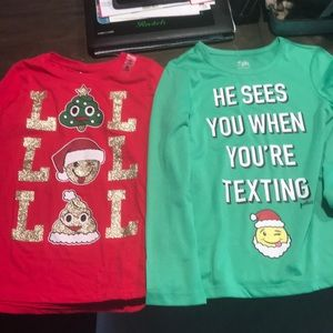 Other - 2 girls Christmas tops Justice Children's Place